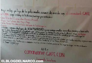Fotos de la narcomantas del Comandante Gafe del CDN amenaza a lideres de los Zetas en @Cd_Victoria