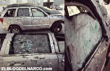 Fotos del poder del Narco, Así quedó el vehículo blindado que resistió cientos de disparos y 10 granadas en ataque...