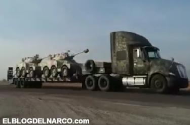 Vídeo llegan militares con tanquetas y armamento pesado a Sinaloa tras enfrentamientos entre Chapos y Damasos