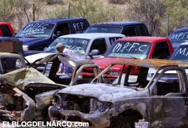 Fotos del narco-cementerio de las camionetas de sicarios los Antrax del CDS que ni el polvo quieren que las mueva