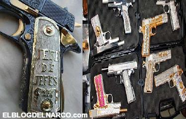 Fotografías de las armas de lujo de los narcos en México