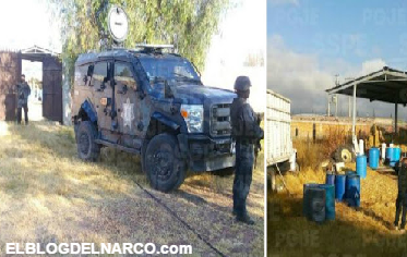Fotos de Narcolaboratorio decomisado en Apaseo El Alto, Guanajuato
