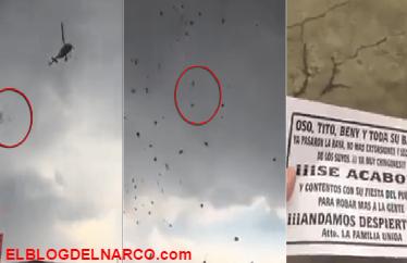 Lanzan narco volantes desde un helicóptero, en el Estado de México (vídeo)