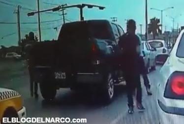Vídeo integrantes del Cartel del Golfo intentan robar una camioneta, dos ya fueron capturados