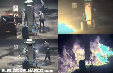 Vídeo completo captan como sicarios riegan gasolina y le prenden fuego a una gasolinera en Tamaulipas