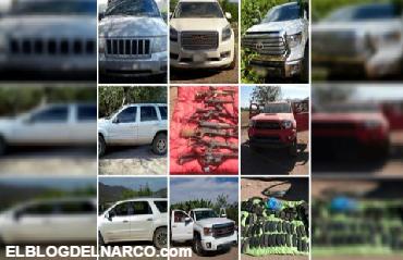 Fotografías aseguran autos, armas y lanza granadas en Buenavista, Michoacán tras enfrentamiento