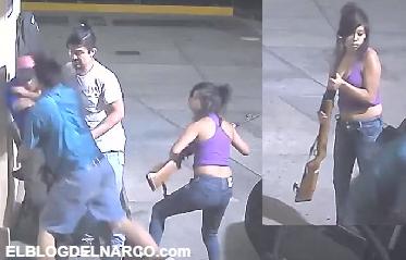 Vídeo donde Mujer con rifle en mano encabeza banda dedicada al robo de gasolineras