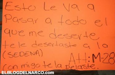 Fotografías fuertes, Te le desertaste a la Sedena, conmigo te la pelaste, El M-28 ejecuta a presunto ex-militar que quiso desertar del CDG en Tamaulipas
